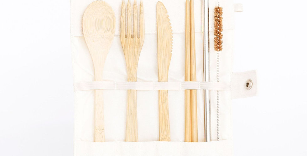 Bamboo Cutlery Travel Pouch (7 Pieces)