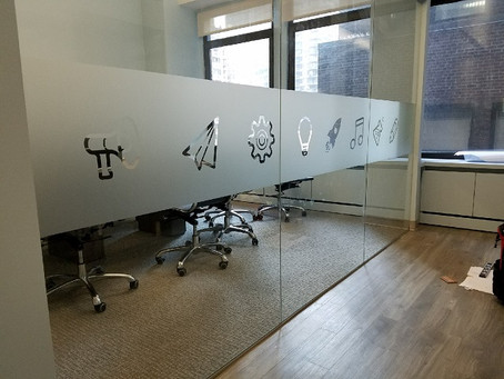 Enhance the interior of your office with frosted glass