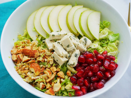 Brussels Sprout, Pear, & Pomegranate Salad (vegan and gluten free)