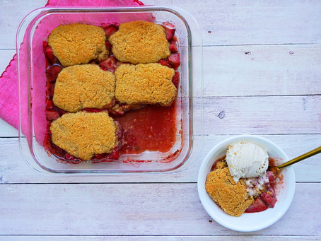 Summer Strawberry Cobbler                           (gluten free, grain free, vegan)