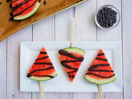 Chocolate Drizzled Watermelon Pops