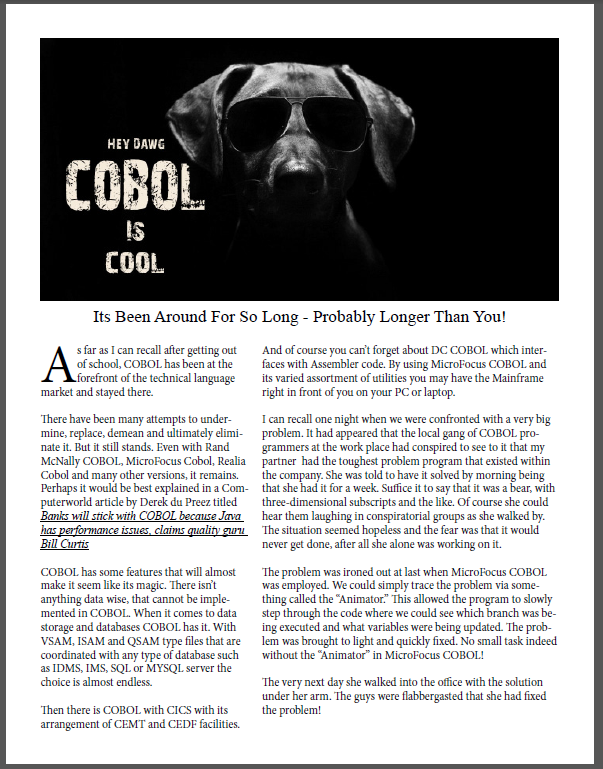 COBOL is Cool!