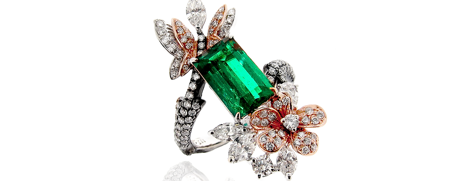 Colombian Emerald Floral Ring in 18K White & Rose Gold