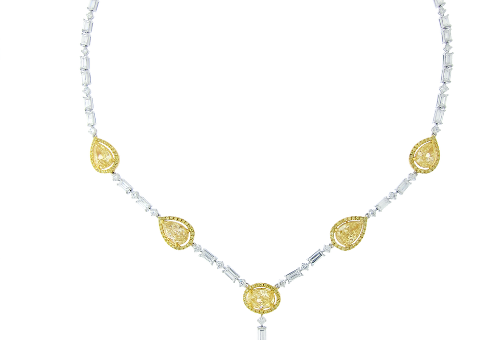 Fancy Yellow Diamond Necklace with Baguette Diamonds in 18K White & Yellow Gold