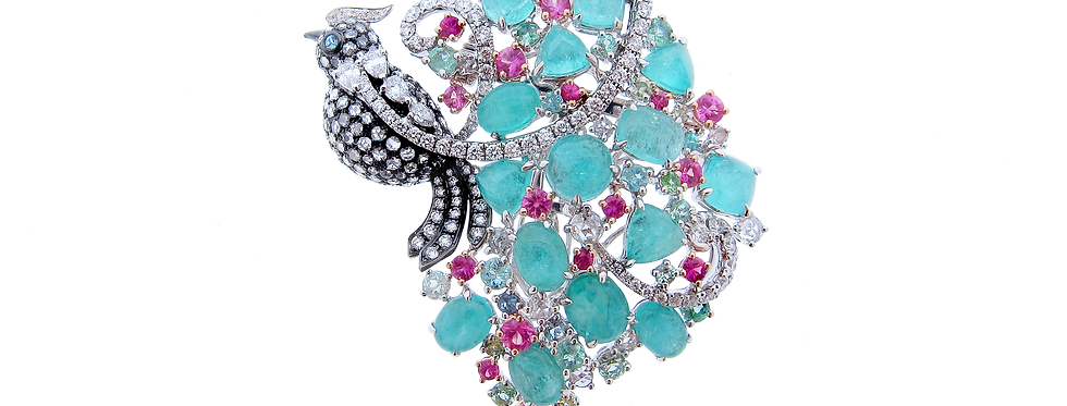 Paraiba Bird Brooch with Pink Sapphires in 18K White Gold