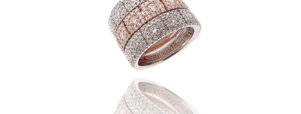 """SQ Link"" Three Rows Diamond Ring in 18K White & Rose Gold"