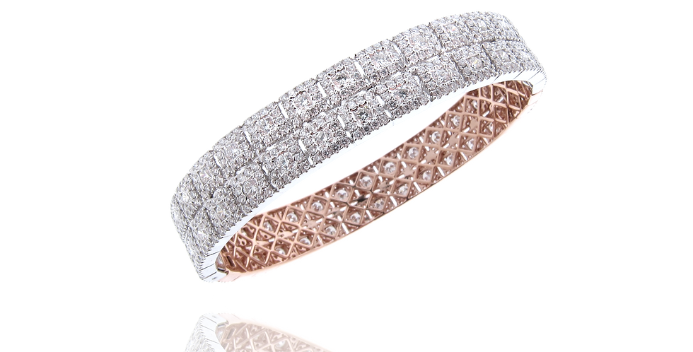 """""""SQ Link"""" Double Rows Diamond Bangle in 18K White Gold"""