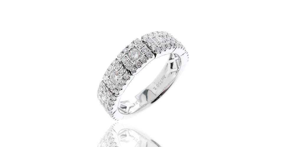 """SQ Link"" Single Row Diamond Ring in 18K White Gold"