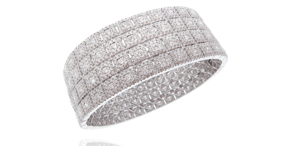 """SQ Link"" Four Rows Diamond Bangle in 18K White Gold"