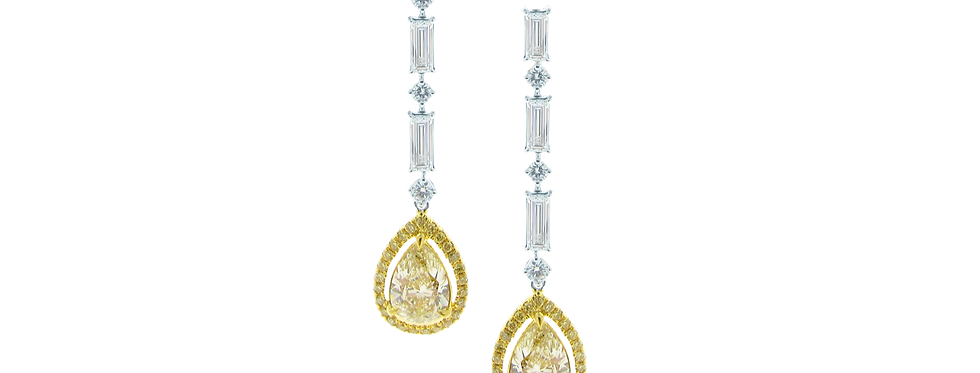 Fancy Yellow Diamond Earring with Baguette Diamonds in 18K White & Yellow Gold