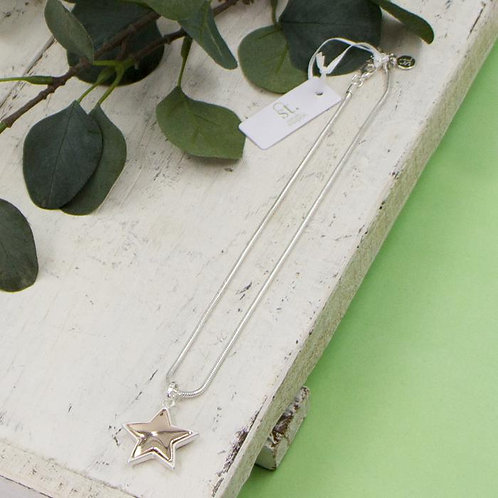 Silver & Rose Gold Star Necklace