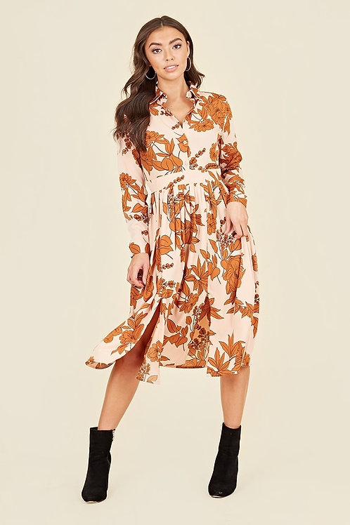 Rust & Blush Floral Shirt Dress