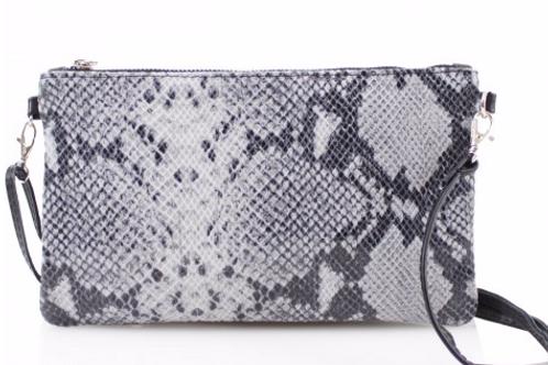 Bria Leather Snakeskin Print Bag