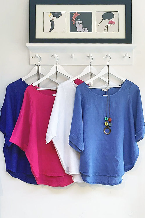 Vittoria Linen Top with Necklace