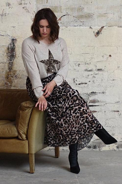 Amara Animal Print Pleated Skirt