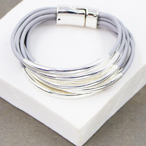 Silver & Leather Multi-strand Bracelet