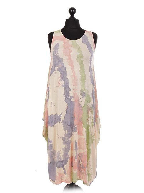 Splash Print Sleeveless Lagenlook Dress