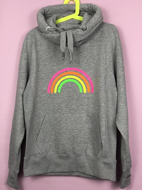 Neon Marl Grey Neon Rainbow Hoodie