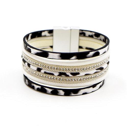 Animal Print & Crystal Cuff Bracelet