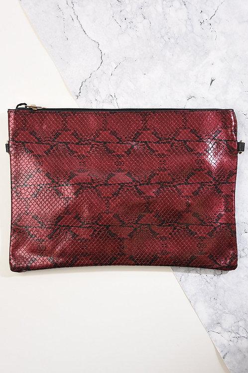 Burgundy Snake Skin Clutch Bag