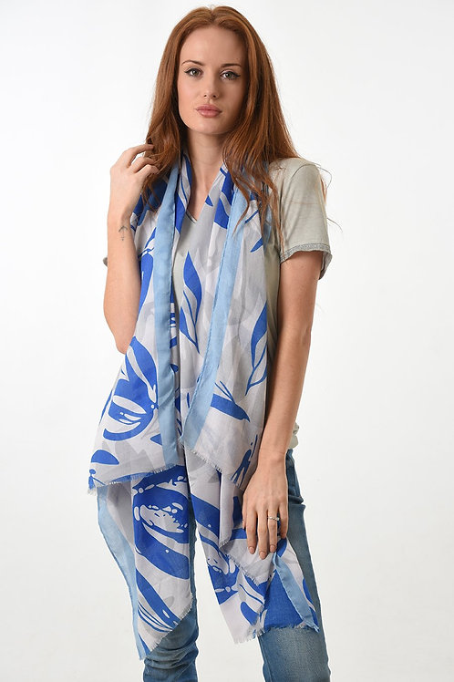 Blue & Grey Leaf Print Scarf