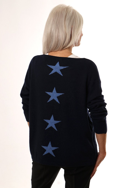 e97616c9ee5995 A cashmere blend jumper with four white stars down the back. Available in  Navy and Light Grey.