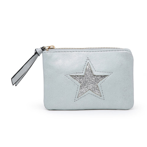 74dd03feb A lovely metallic faux leather coin purse with silver star design.  Available in Blue, Red, Black, Silver, Pewter and Grey.