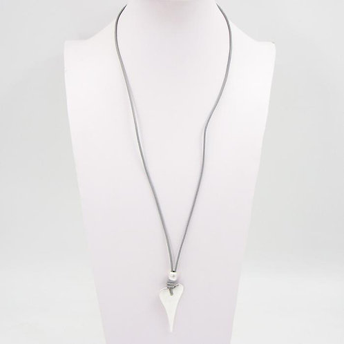 Silver Heart & Bead Leather Necklace