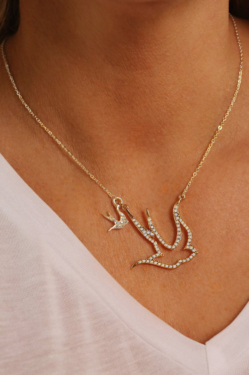 Kate Thornton Crystal Flying Swallow Necklace