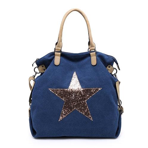 Gold Crystal Encrusted Star Navy Tote Bag