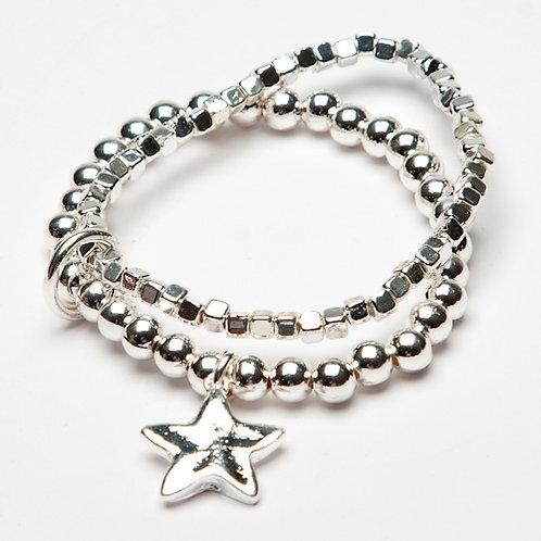Star Charm Silver Beaded Bracelet