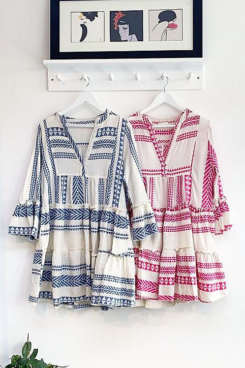 Tayanna Aztec Mini Smock Dress