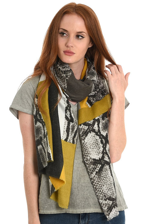 Snake Print & Colour Block Scarf