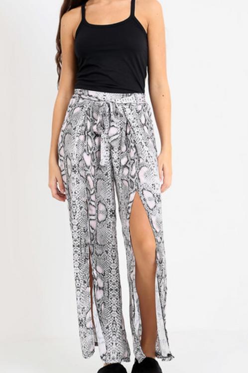 Snake Print Front Split Trousers