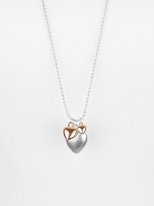Siena Silver & Rose Gold Hearts Necklace