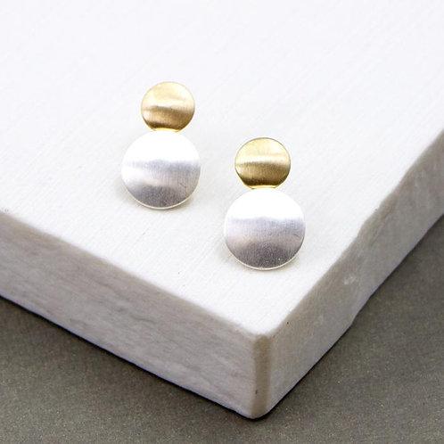Silver & Gold Disc Earrings