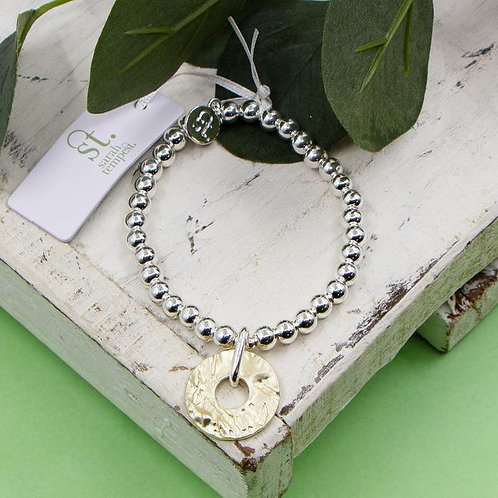 Disc Charm Bead Bracelet