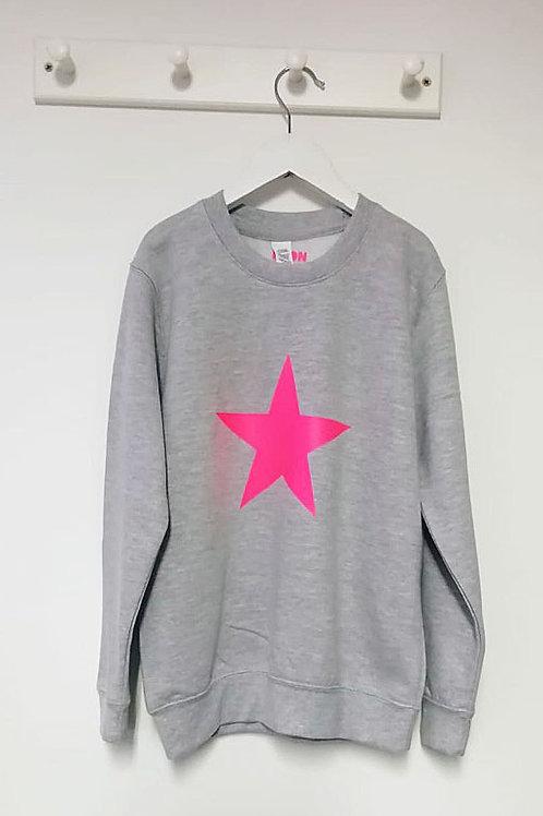 Neon Marl Pink Star Sweatshirt