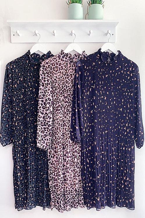 Athena Leopard Print Pintuck Dress