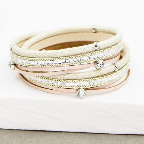 Pink & Cream Crystal Wrap Bracelet