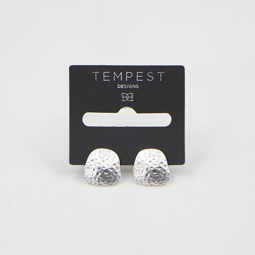Hammered Effect Silver Stud Earrings