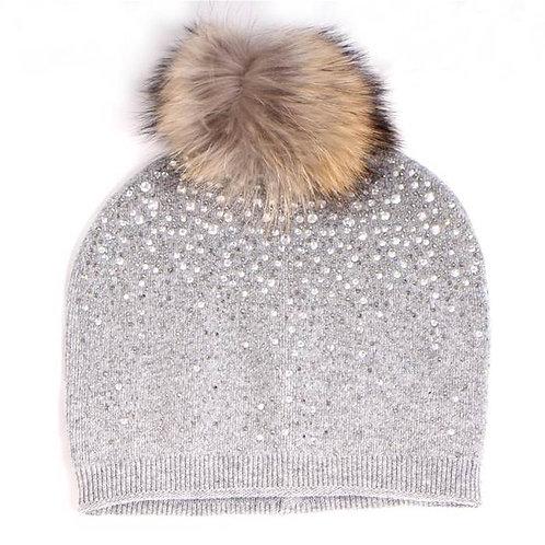 Cashmere Blend Crystal & Pom Pom Beanie Hat
