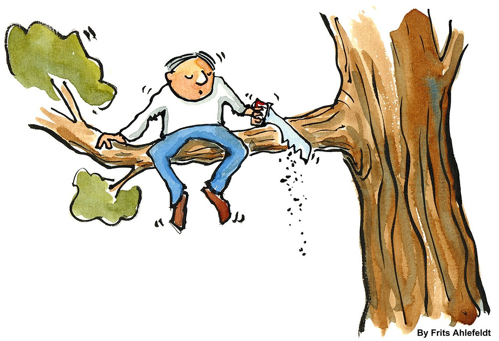 Man sawing the branch he's sitting on
