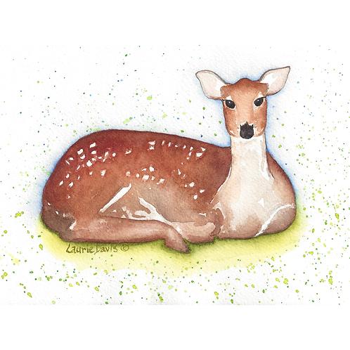 """""""Mama Deer"""" Watercolor Art Card - 5 Card Set"""