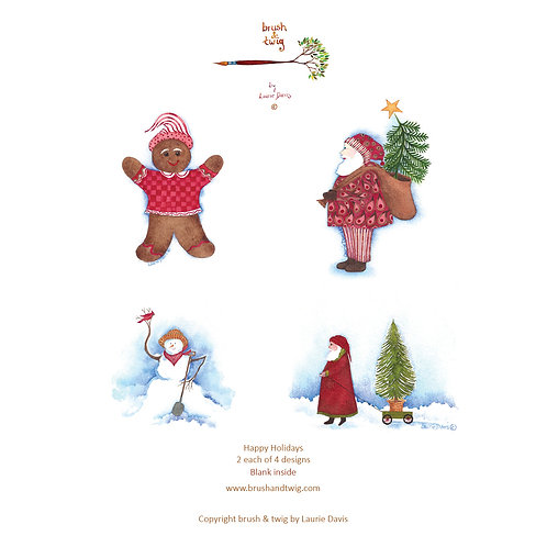 Happy Holidays - 8 Card Set - 2 each of 4 New Designs