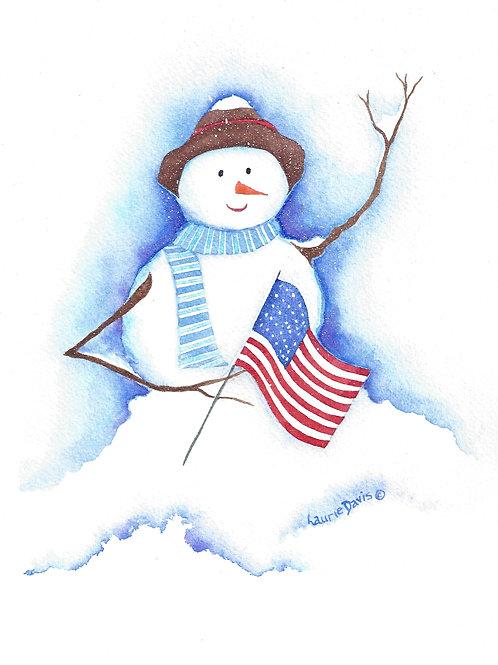 """Patriotic Snowman"" 5 Card Set"