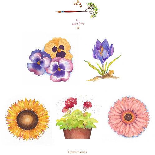"""Flower Series"" - 5 Watercolor Art Card Set"