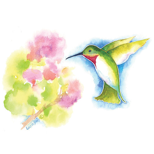 """Morning Nectar"" - Watercolor Art Card - 5 Card Set"