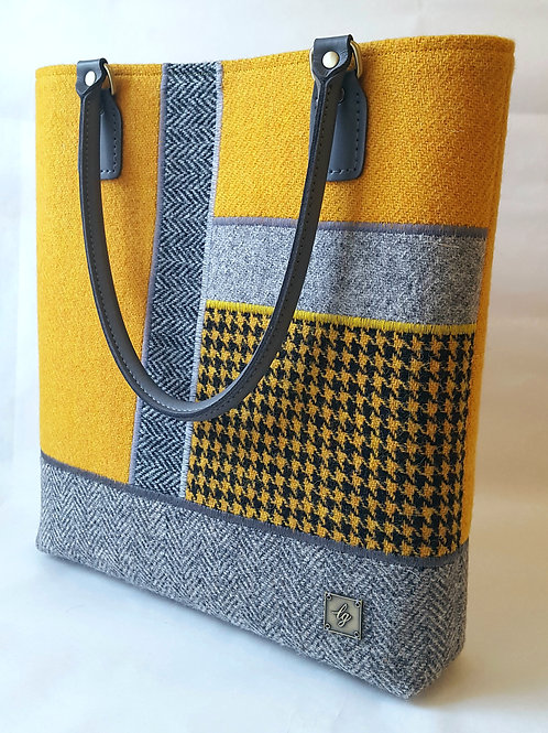 Large Yellow and Grey Harris Tweed Bag