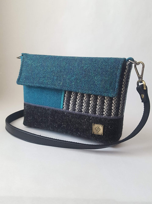 Small teal and grey Harris Tweed Bag
